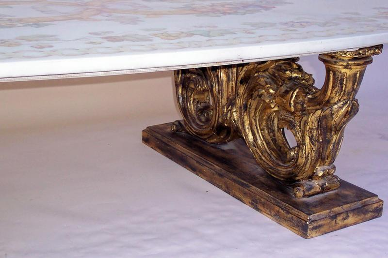 Faux marble with decorative top coffee table for sale for Marble table tops for sale