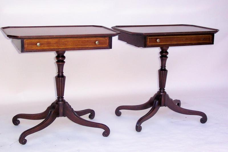 Pair Of Mahogany Side Tables On A Pedestal Base For Sale