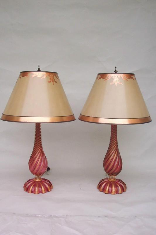 pair of light ruby murano glass lamps for sale. Black Bedroom Furniture Sets. Home Design Ideas