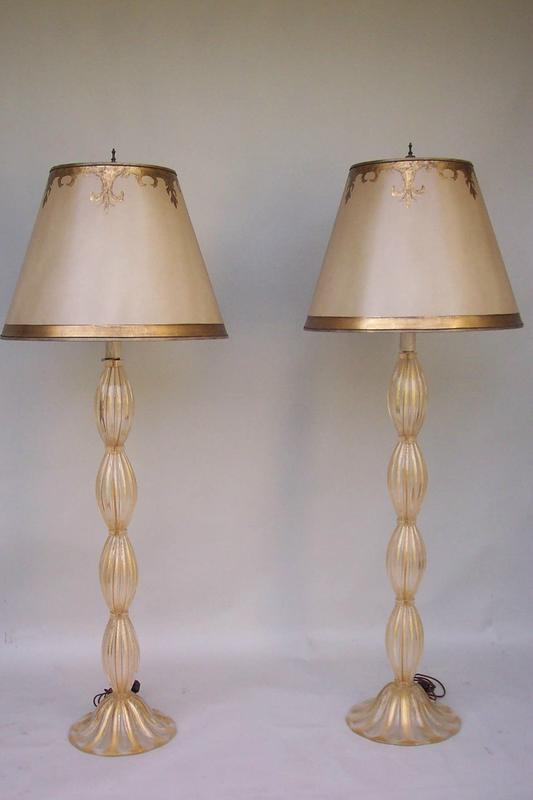 pair of murano glass floor or tall table lamps for sale. Black Bedroom Furniture Sets. Home Design Ideas