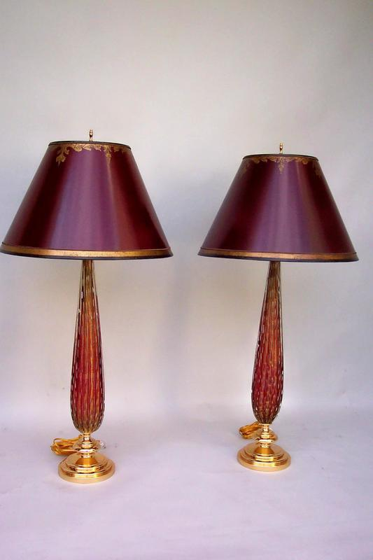 pair of vintage ruby murano glass lamps for sale. Black Bedroom Furniture Sets. Home Design Ideas