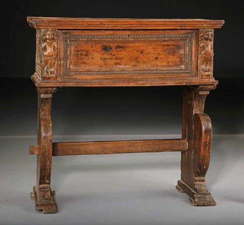 Baroque walnut desk on frame italian or spanish for sale for Spanish baroque furniture