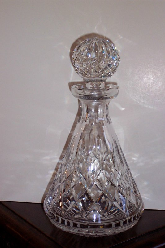 Waterford Style Cut Glass Decanter With Stopper For Sale