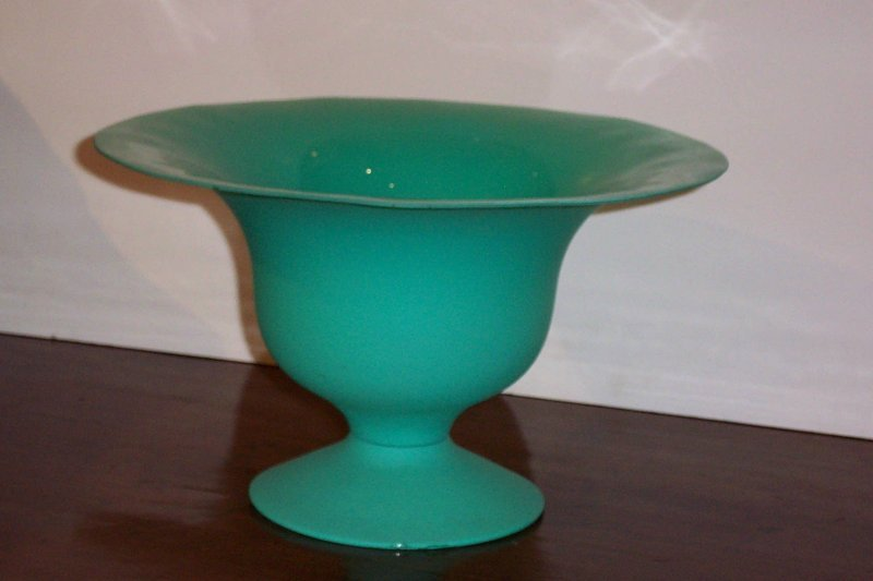 Spanish Green Compote With A Nice Pedestal Base For Sale