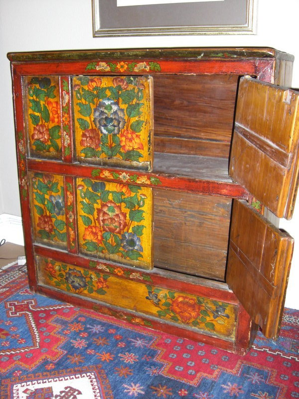 19th c painted wood cabinet in chinese style for sale for Chinese style furniture for sale