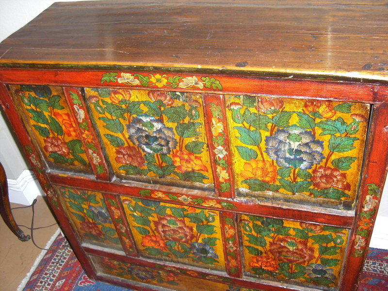 19th C Painted Wood Cabinet In Chinese Style For Sale