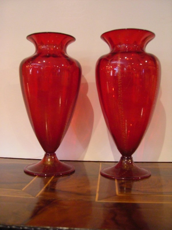 Pair Of Ruby Red Venetian Glass Vases For Sale Antiques