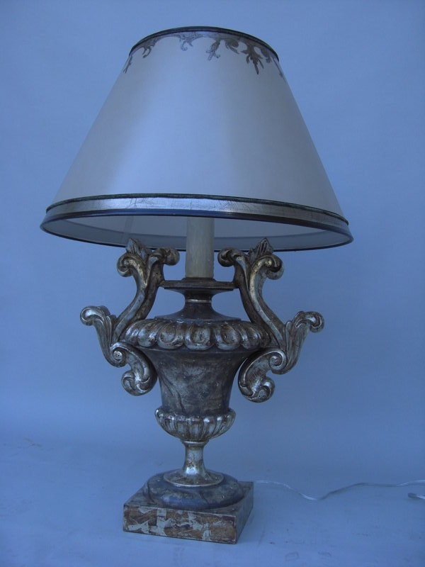 pair of silvered gilt carved wooden urn lamps for sale classifieds. Black Bedroom Furniture Sets. Home Design Ideas