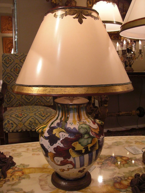 Decorative C 1920 Ceramic Italian Lamp With Shield For