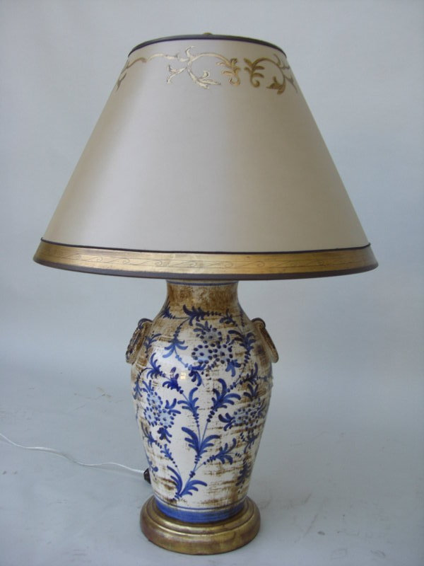 1920 italian ceramic blue and white lamp for sale. Black Bedroom Furniture Sets. Home Design Ideas