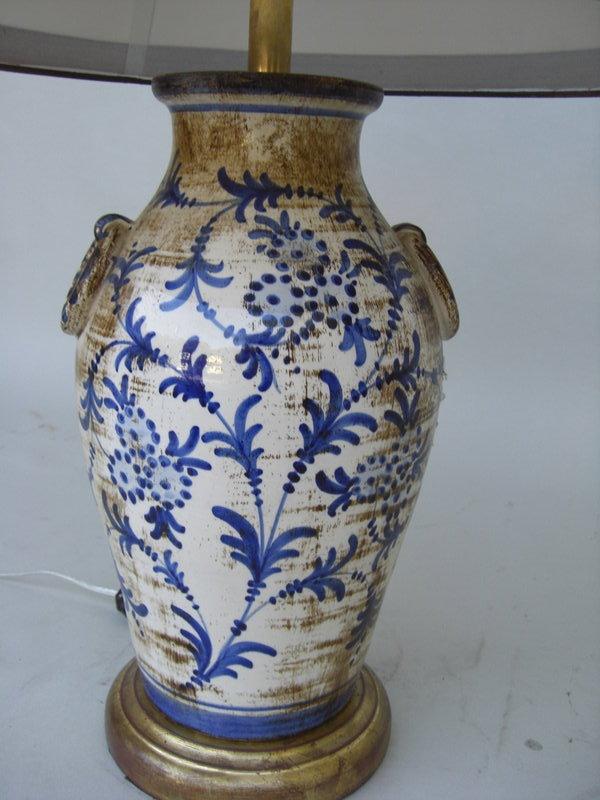 C 1920 Italian Ceramic Blue And White Lamp For Sale Antiquescom
