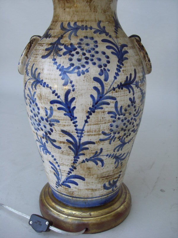 C 1920 Italian Ceramic Blue And White Lamp For Sale
