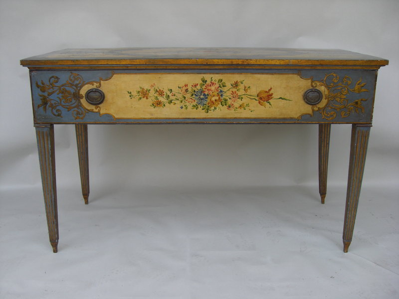 Antique Italian Painted Console Table Of Polychrome Decoration Featuring In  The Central Cartouche A Scene Of Voluptous Maidens Cavorting Within An 18th  ...
