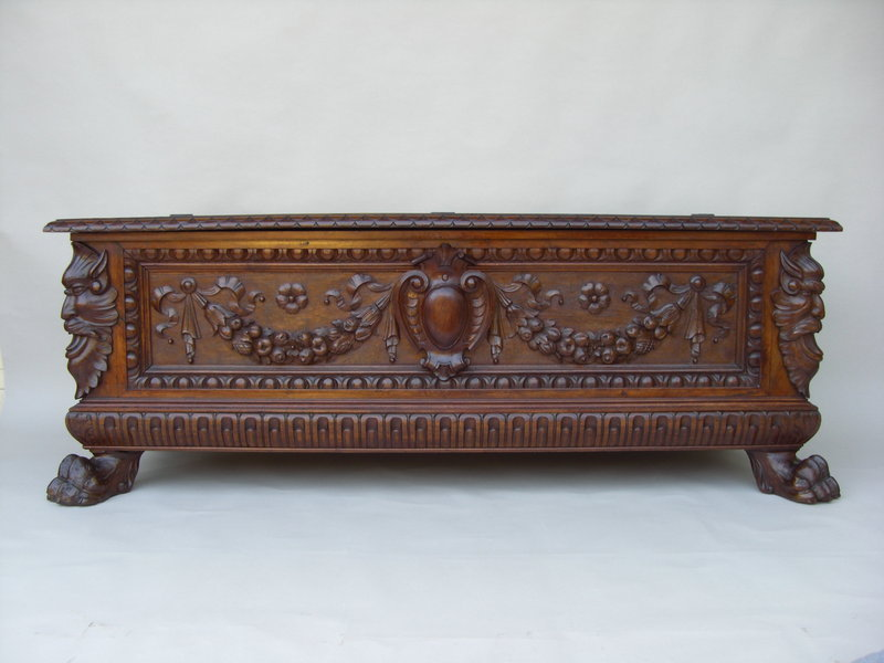 19th c italian baroque style carved walnut cassone for for Antique baroque furniture