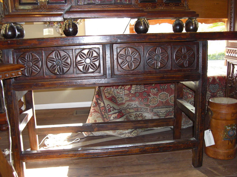 Antique rustic carved table with two drawers for sale - Resource furniture espana ...