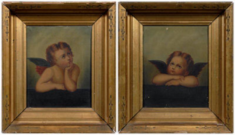 Pair Of L 19th Century Northern Italian Angel Paintings