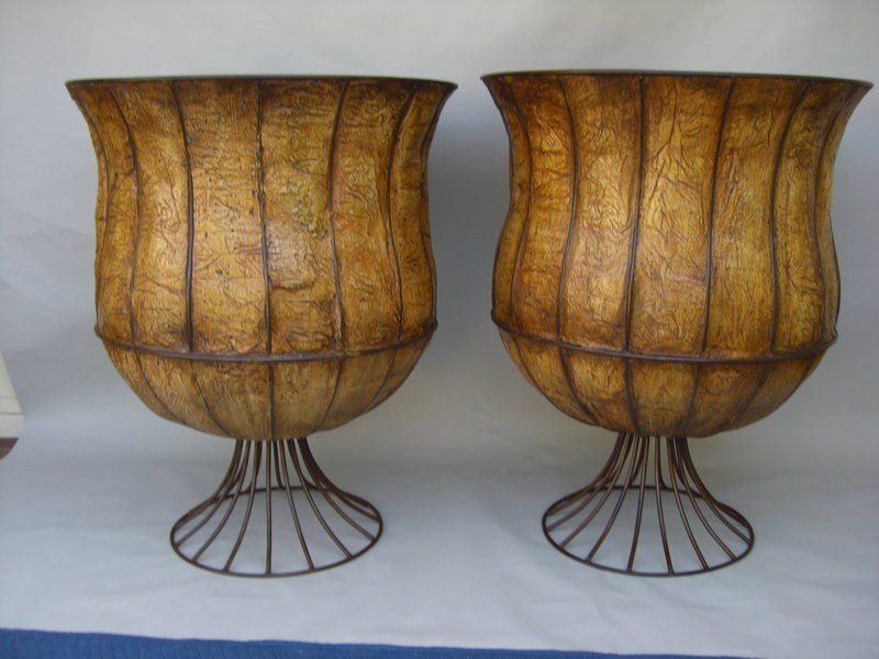 Decorative Pair Of Iron Mounted Faux Leather Urns For Sale Beauteous Decorative Urns For Sale