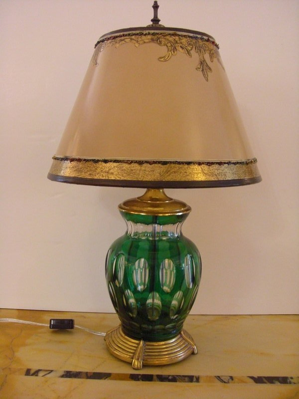 Decorative Lamp Shades : Decorative green glass lamp with parchment shade for sale