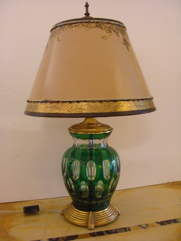 decorative green glass lamp with parchment shade for sale antiques. Black Bedroom Furniture Sets. Home Design Ideas