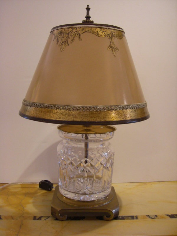 Decorative Lamp Shades : Decorative waterford glass lamp with parchment shade for