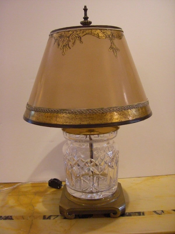 Decorative Waterford Glass Lamp With Parchment Shade For
