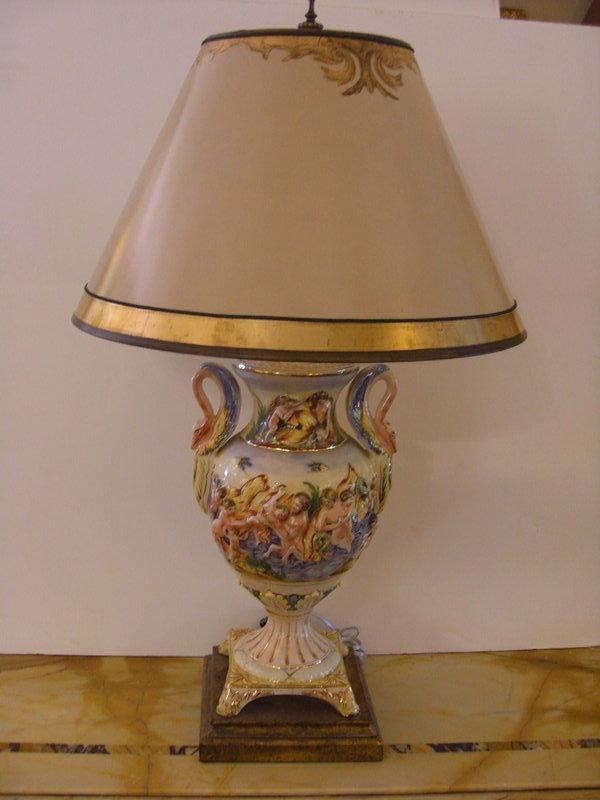 Decorated porcelain lamps vintage antique
