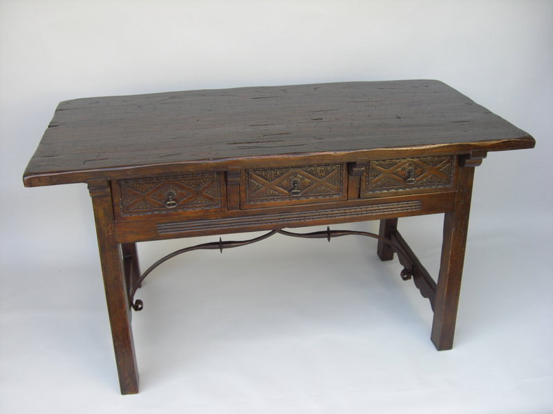 Decorative Spanish Walnut Trestle Table With Drawers For