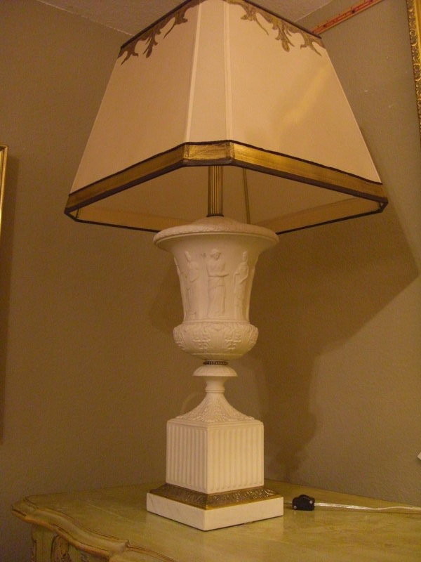 Pair Of Classical Style White Bisque Table Lamps For Sale