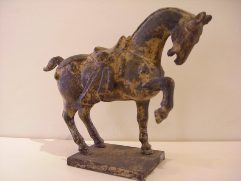 Vintage Cast Iron Chinese Style Horse For Sale Antiques