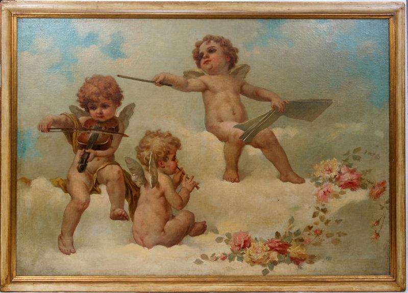 Three Cherubs Oil by Eduardo Tojetti, American1851-1930 ...