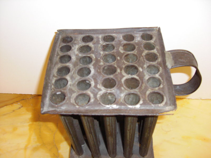 Mid 18th C Large American Tin Candle Molds For Sale