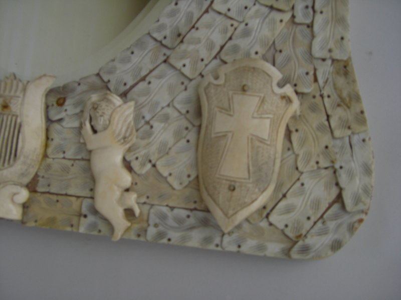 Antique th c dieppe carved ivory and bone mirror for