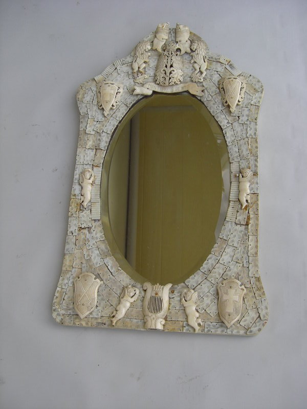 Antique 19th C Dieppe Carved Ivory And Bone Mirror For Sale Antiques Com Classifieds