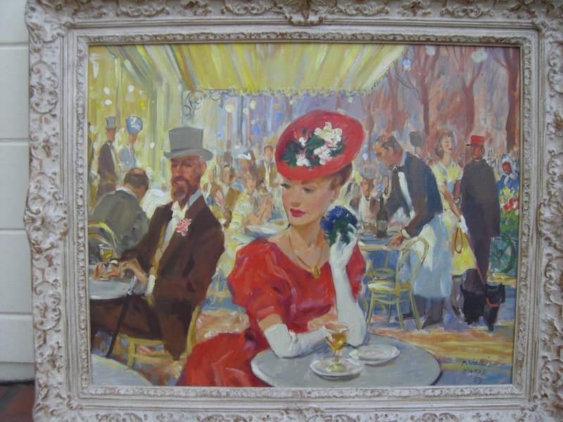 French Cafe Oil On Canvas Scene By P Valois C 1959 For