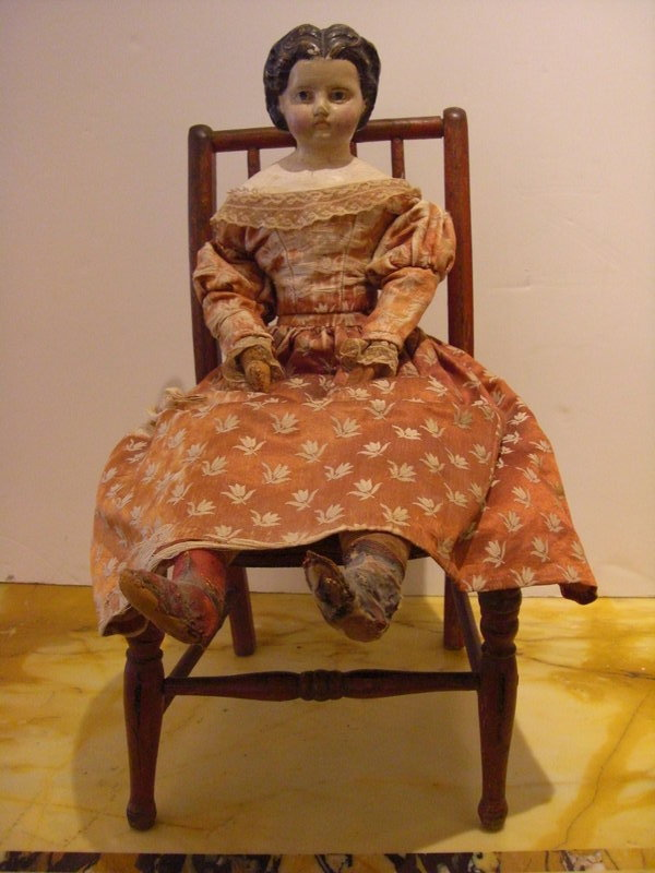 Vintage Painted Red Doll Chair with Wicker Seat with Circa 1900's Doll in  period clothing with some damage to the dress, H:16 1/4