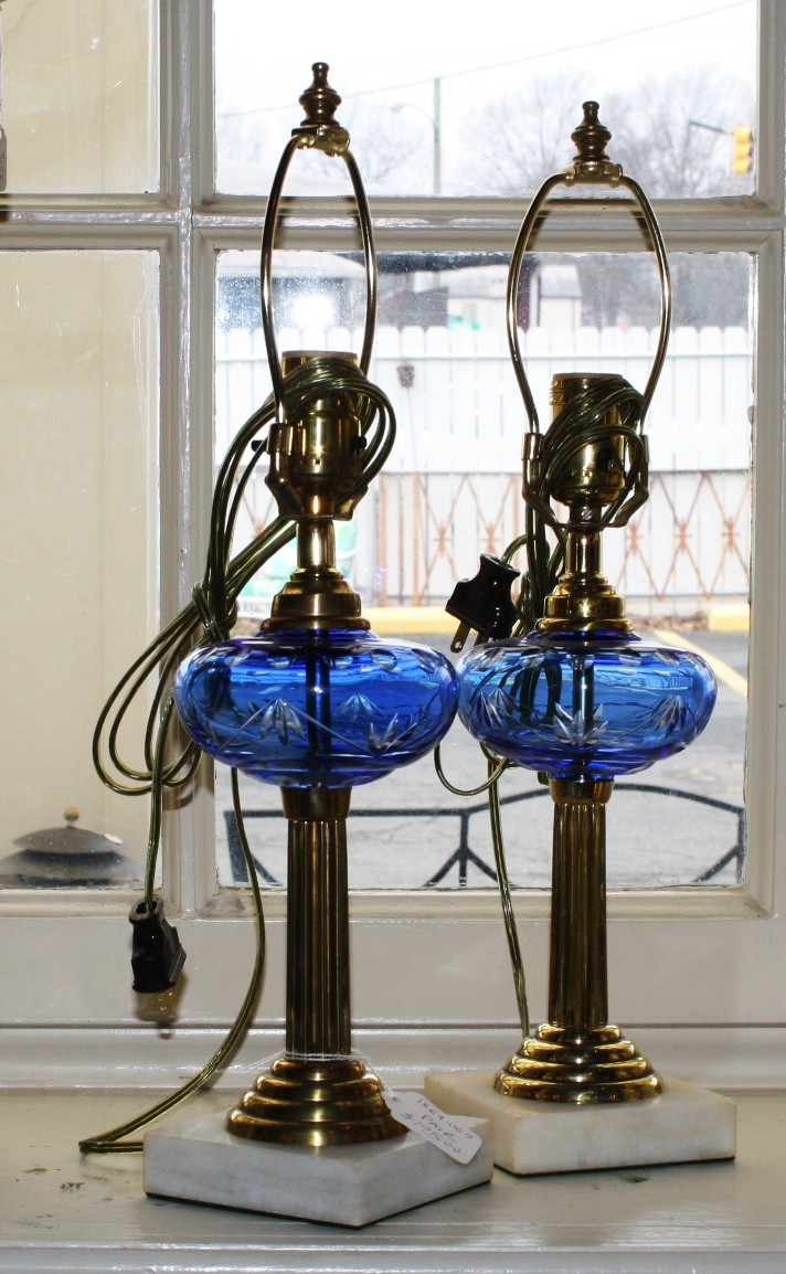 pair of cyan glass lamps for sale classifieds. Black Bedroom Furniture Sets. Home Design Ideas