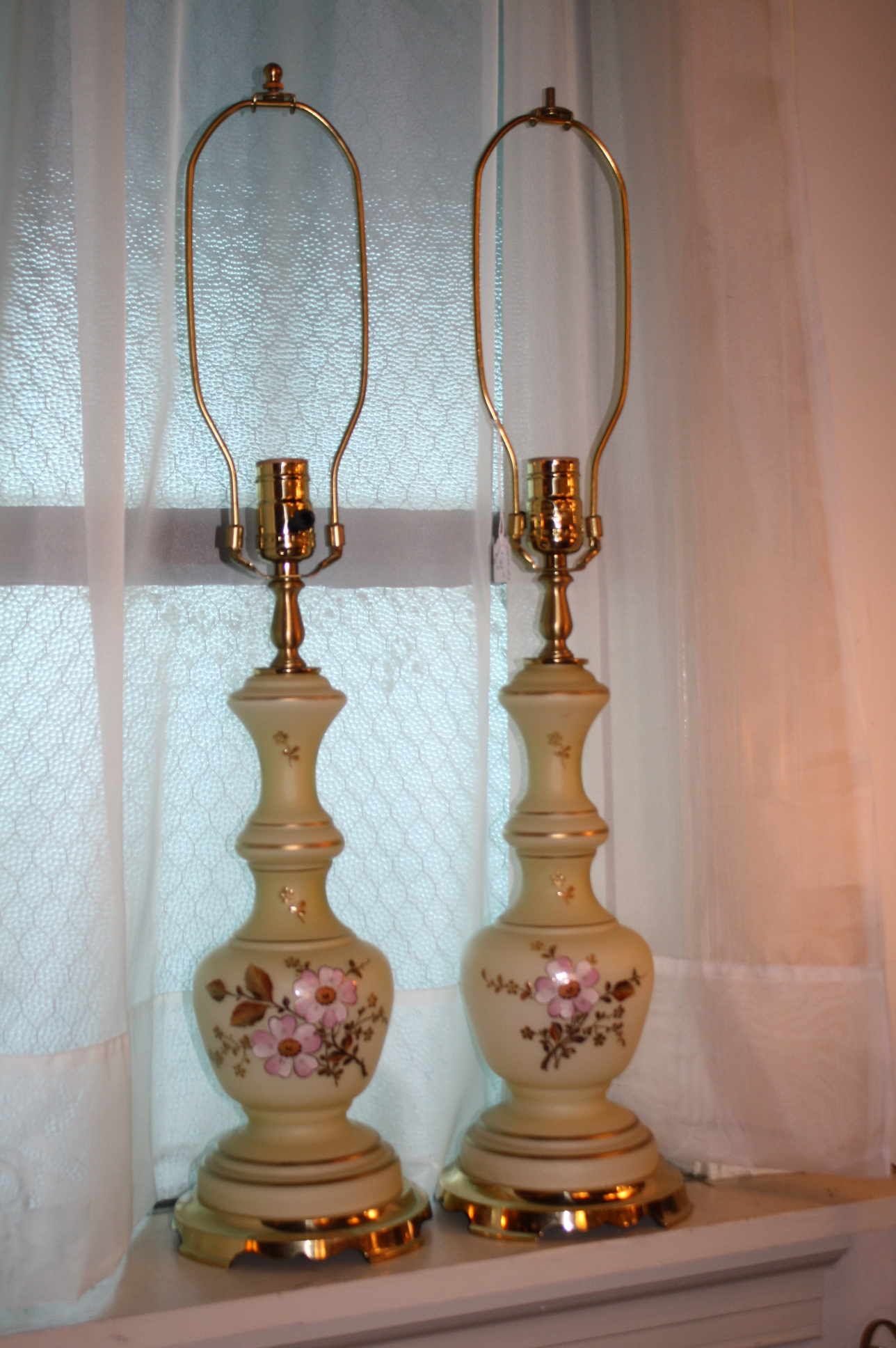 lovely pair of yellow glass lamps for sale. Black Bedroom Furniture Sets. Home Design Ideas