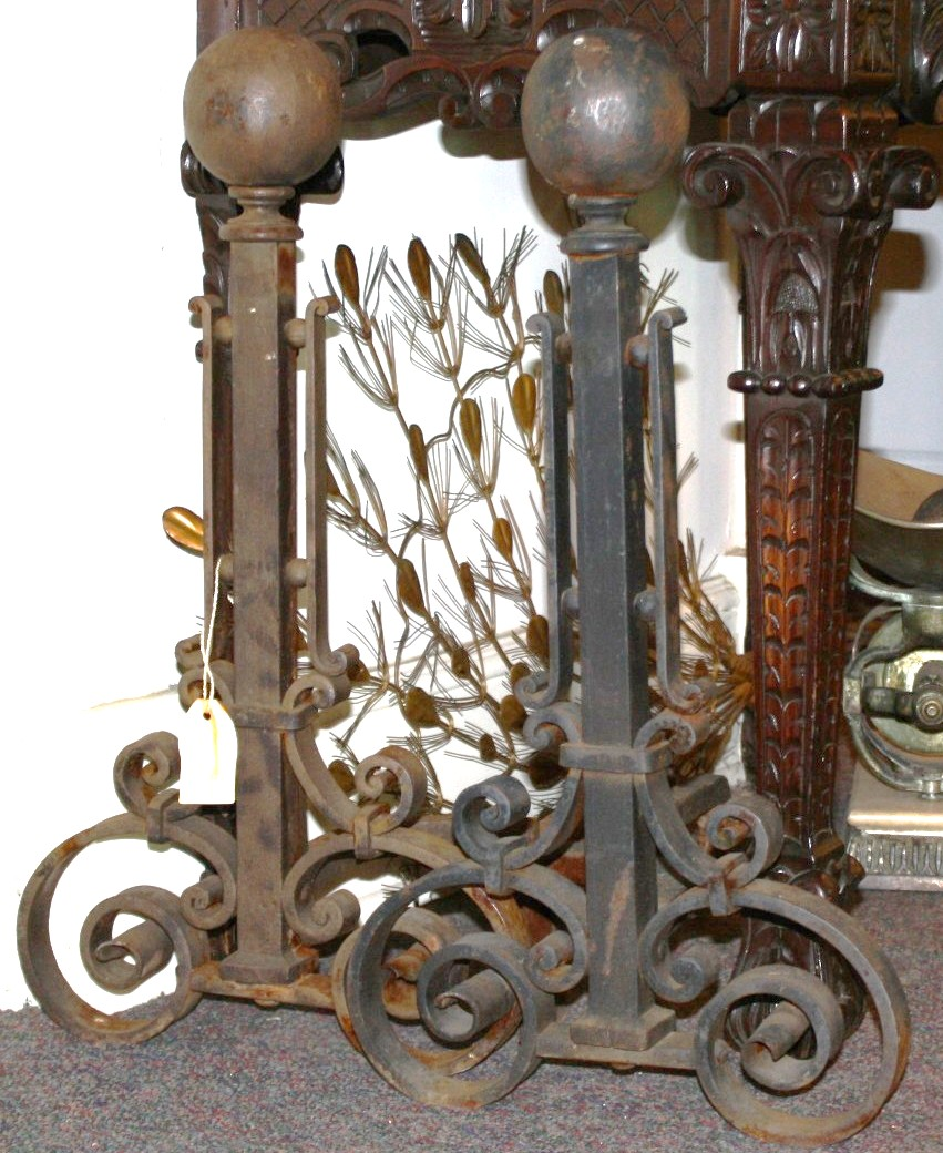Hand Forged Cannonball Andirons For Sale | Antiques.com | Classifieds