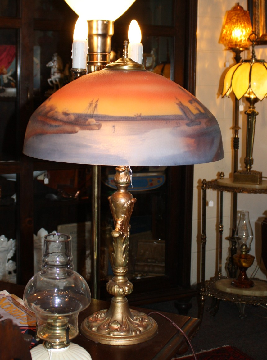 Reverse Painted Antique Shade For Sale Antiques Com