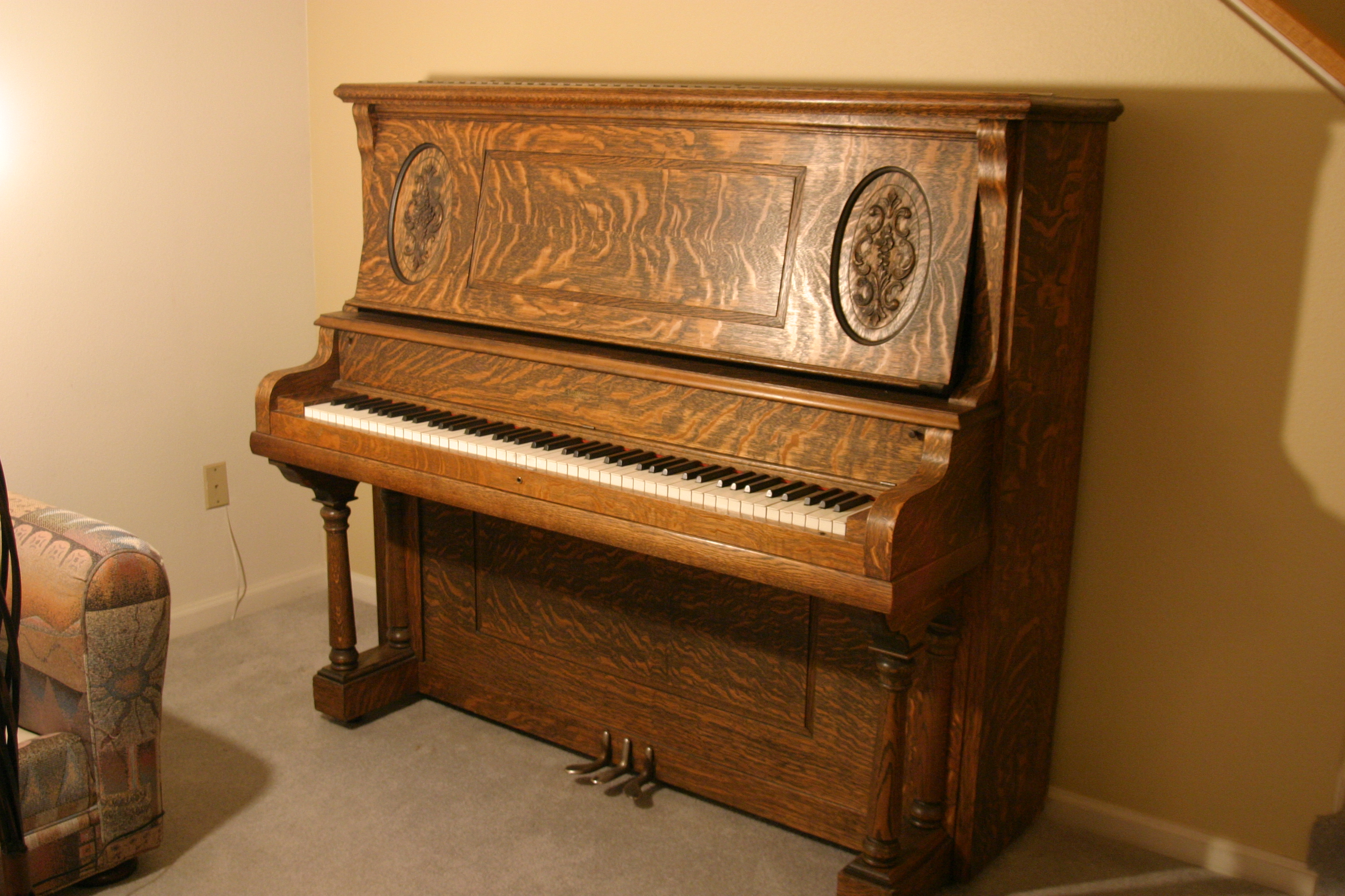 Ludwig Amp Co Antique Upright Country Victorian Piano For