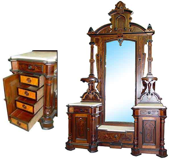 Monumental 3 Pc American Victorian Bedroom Set By Thomas Brooks C 1875 For Sale