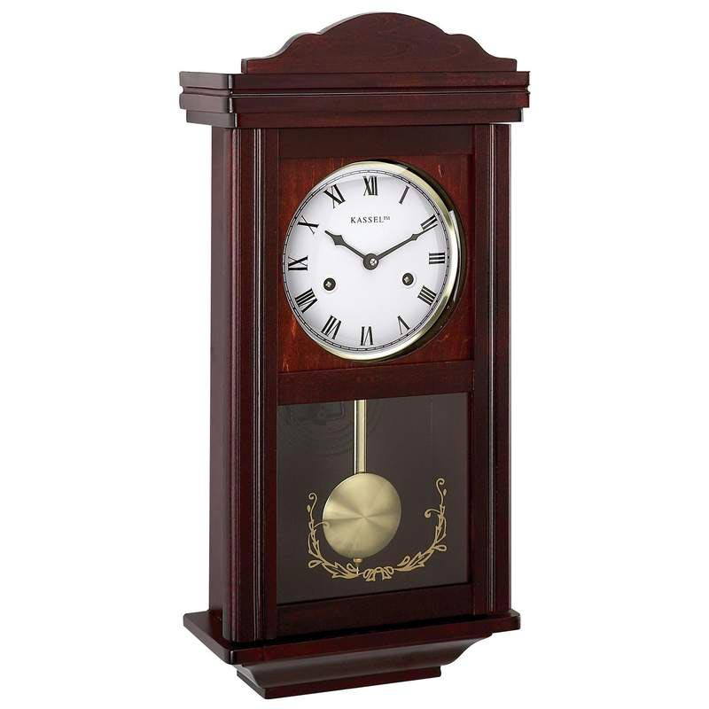 kassel 15 day key wound chiming wood wall clock with