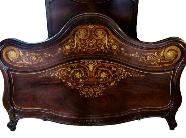 Antique R J Horner Mahogany Serpentine 2 Pc Inlaid Bedroom Set For Sale