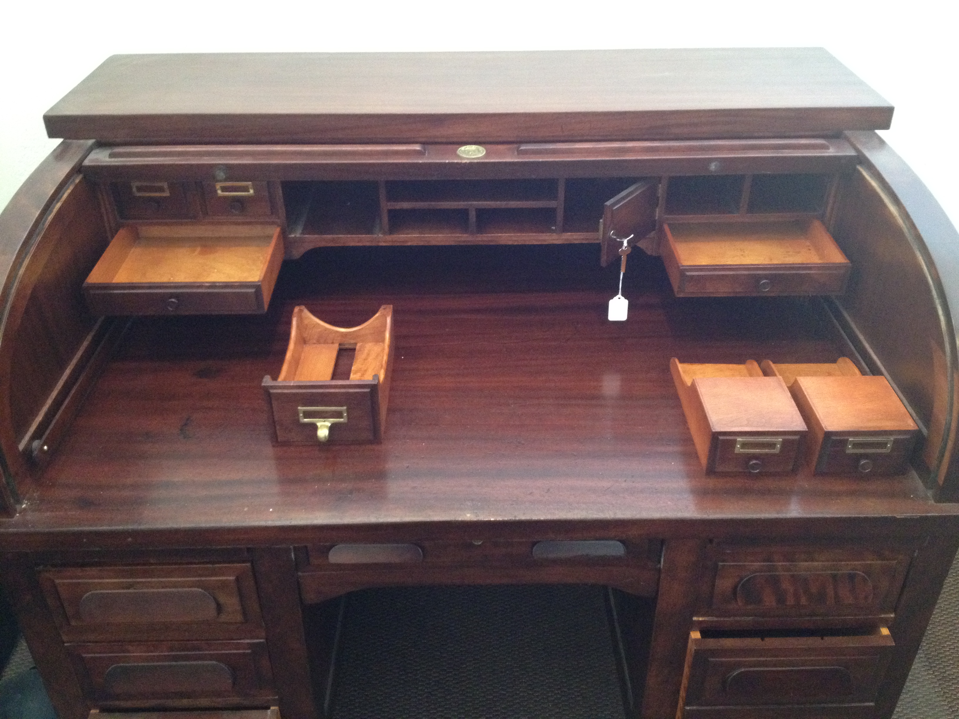 1940 s Standard Mahogany Roll top Desk For Sale