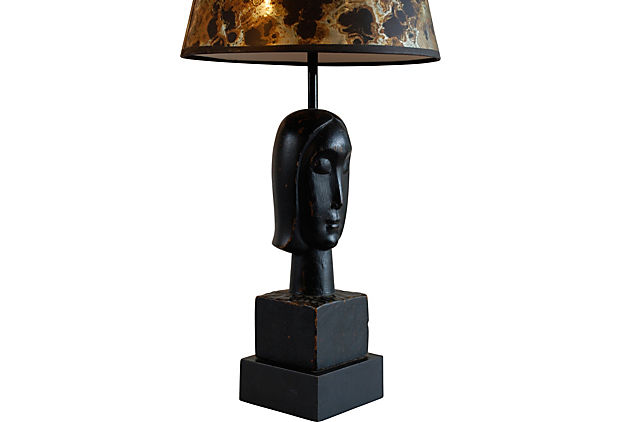 art deco wood bust lamp for sale classifieds. Black Bedroom Furniture Sets. Home Design Ideas