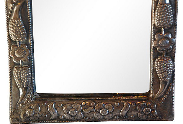 Indian embossed silver mirror for sale for Silver framed mirrors on sale