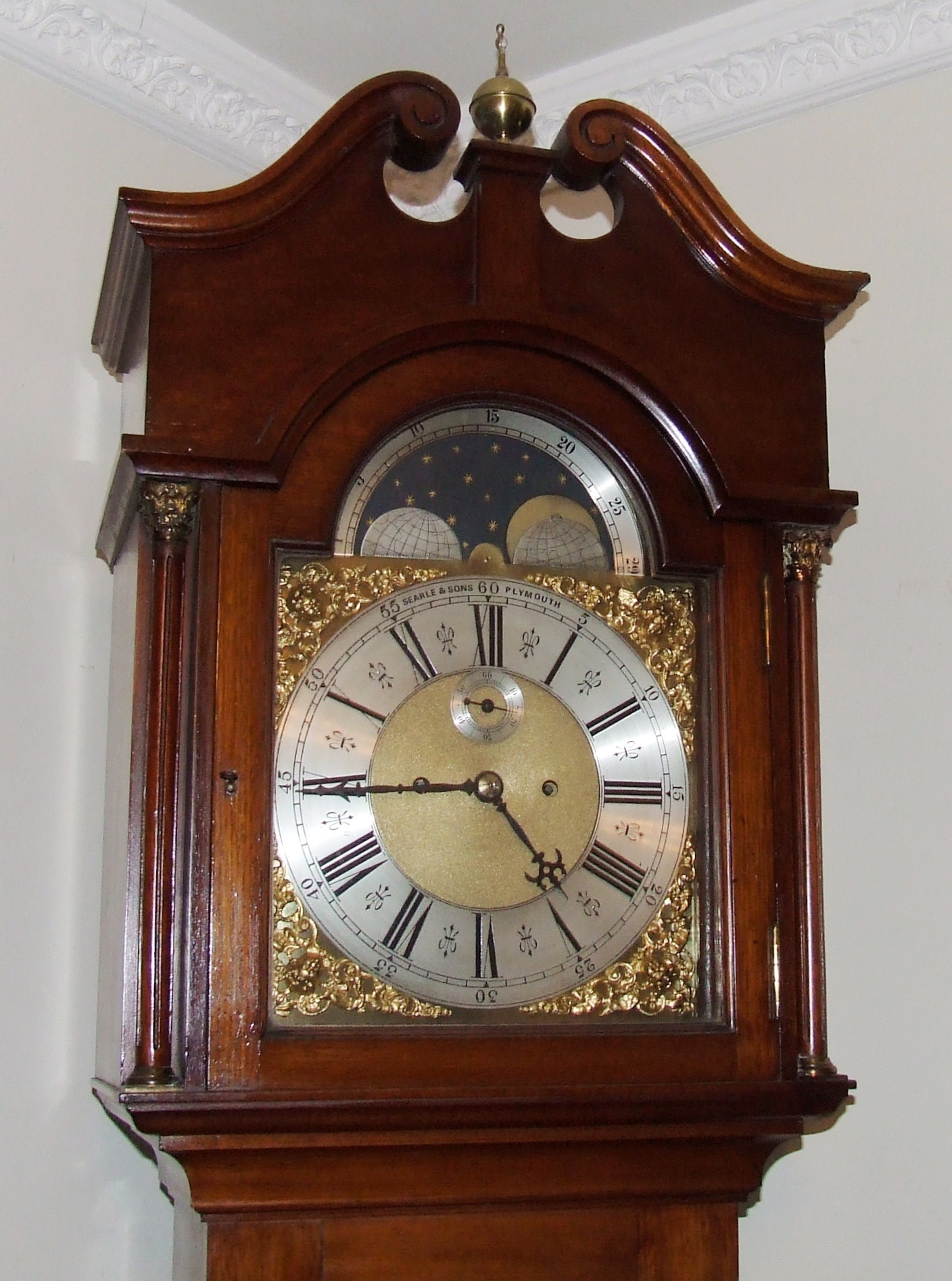 Antique Rolling Moon Mahogany Longcase Grandfather Clock ...