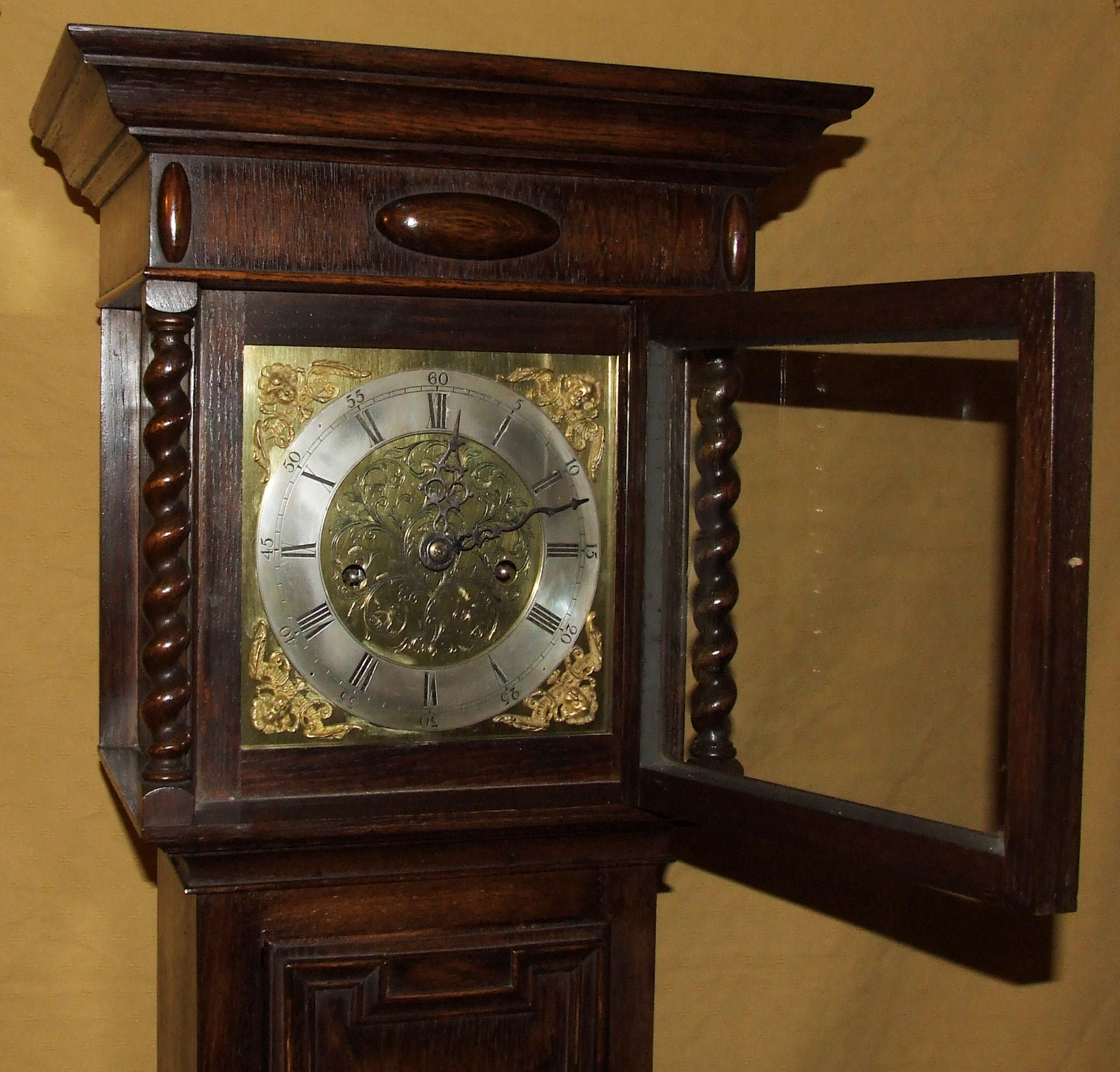 Antique 8 Day Miniature Grandfather / Grandmother Clock For