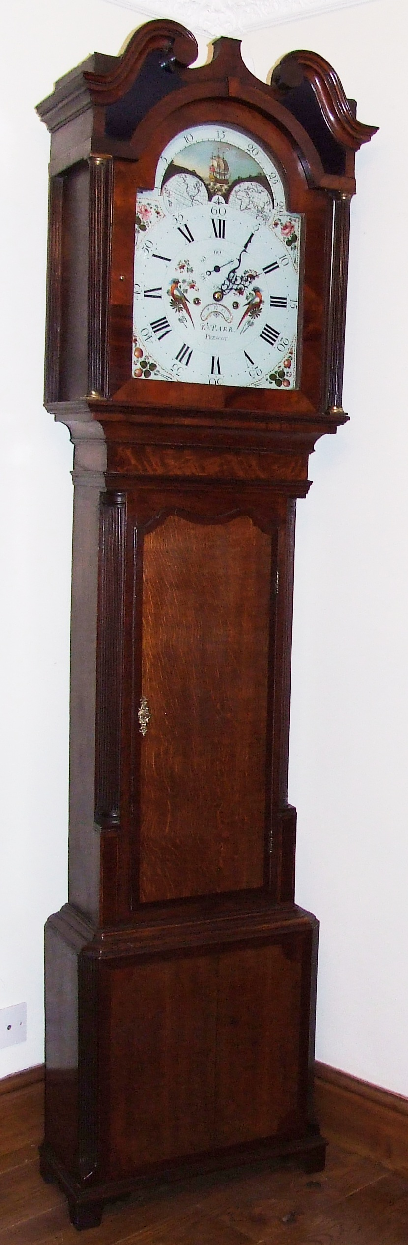Antique Rolling Moon Oak Gany Longcase Grandfather Clock R Parr Prescot