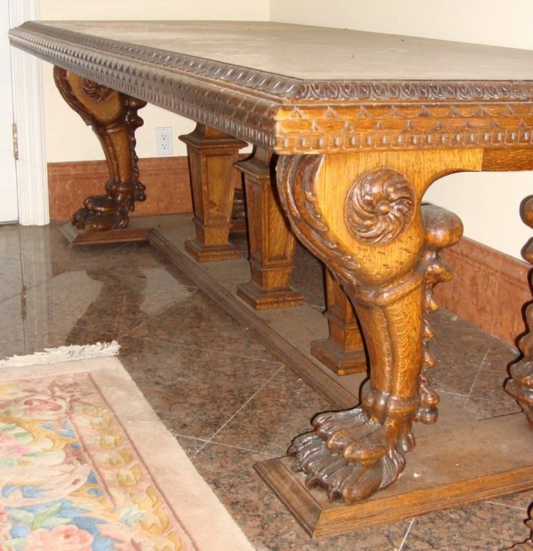 Dining table antique carved